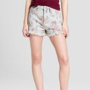 Floral Print High-Rise Jean Shorts